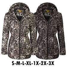 Fashion Women's Leopard Quilted Padding Jackets With Detachable Hoodie-310