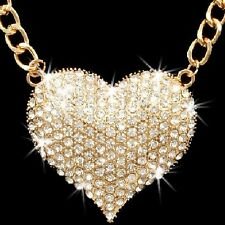 RUBY RED GOLD SILVER HEART Micro Pave Crystal Cz Chain Link Necklace Earring Set