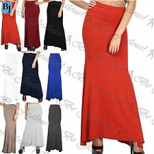 New Womens Ladies Plain Stretchy Flared Over High Waisted Gypsy Long Maxi Skirt
