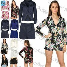 Womens Ladies One Button Jacket Coat Blazer Pleated Pockets Hot Pants Shorts