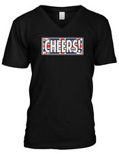 CHEERS! Great Britain Flag Pride Country Colors Mens V-neck T-shirt
