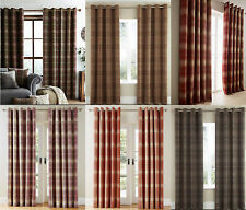 LUXURY CHECK Highland Ring Top Eyelet Lined Curtains Brushed Faux WOOL Effect