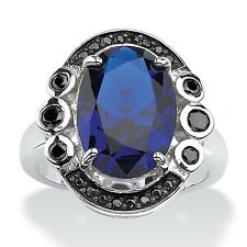 PalmBeach .40 TCW Oval-Cut Blue Spinel and Bezel-Set Black Cubic Zirconia Ring i
