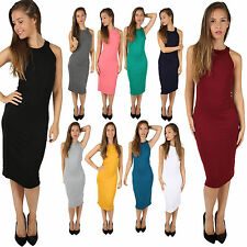 WOMENS LADIES HALTER NECK BODYCON CELEBRITY INSPIRED KIM KARDASHIAN MIDI DRESS