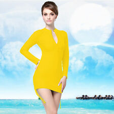 Women Fashion Scuba & Snorkeling Wetsuit Rash Guard Surfing Surf Clothing Yellow