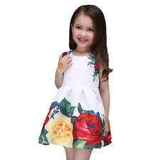 2016 Spring and summer white girls dress with print rose flowers princess dress