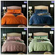 Cotton Solid Quilt Doona Duvet Cover Set Queen/King Size Fitted Sheets Bed New