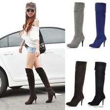 Womens Ladies High Heel Stilettos Knee High Side Zipper Boots Shoes US All Sizes