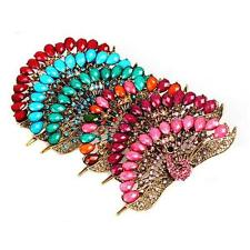 New Women Peacock Shape Crystal Rhinestone Hairpin Hair Barrette Hair Stick Clip