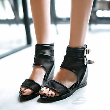 2016 Womens Open Toe Wedge Heels Mesh Sandals Ankle Buckle Shoes Boots All Size