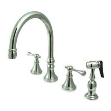 Deck Mount Double Handle Widespread Kitchen Faucet with Buckingham Lever Handle