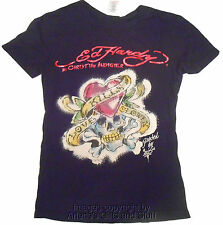 Ed Hardy by Christian Audigier Kids Black Heart W/Skull Design Fitted T-Shirt