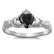 Irish Claddagh Ring 925 Sterling Silver Black CZ Heart Promise Ring