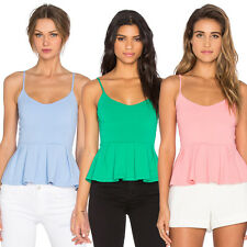 May&Maya Women's Pleated Peplum Adds V Neckline Crop Top Shirt Tee Tank Cami