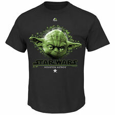 Men's Majestic Black Houston Astros Star Wars Night Yoda Character T-Shirt - MLB