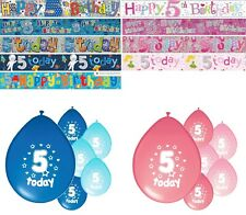 5th BIRTHDAY PARTY BANNERS PINK & BLUE PARTY DECORATIONS 5th BIRTHDAY BANNERS