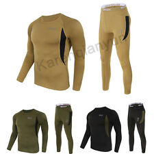 Outdoor Men's Fleece Thermal Long Sleeve Top Bottom Long Johns Underwear Set