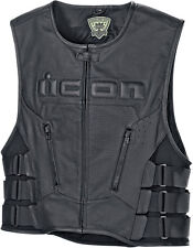 Icon Regulator D3O Mens Leather Motorcycle Street Riding Touring Vests