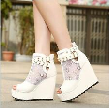 Women Girl High Wedge Heel Sexy Sandals Peep Toe Platform New Shoes ankle boots