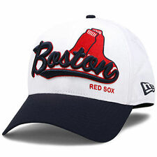 Boston Red Sox New Era Mas Word Classic 39THIRTY Flex Hat - White/Navy - MLB