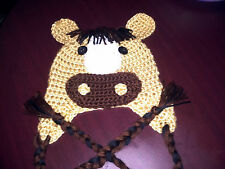 New Handmade Crocheted Baby Horse Hat Child Unisex Photo Prop All Sizes