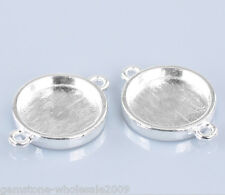 """Wholesale Lots Silver Plated Round Cabochon Setting Connectors 26x19mm(1""""x6/8"""")"""