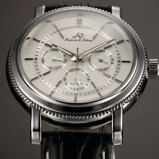 KS Fashion Men's Leather Date Day 6 Hands Automatic Mechanical Sport Wrist Watch
