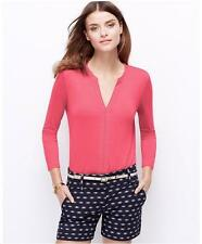 NWT Ann Taylor Embroidered Split Neck 3/4 Sleeve Top  $59.00  Begonia Pink