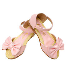 Children's shoes girls sandals with bowtie and rubber sole soft pu leather shoes