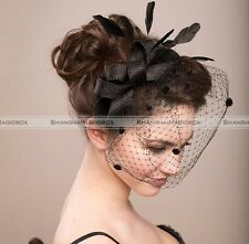 Bow Veil Cocktail Hair Clip Feather Church Hat Party Wedding Hair Accessory