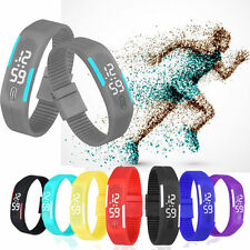 Stylish Boys Girls Gel Digital LED Date Calendar Rubber Band Sport Wrist Watch