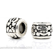 Wholesale Lots Silver Tone Carved Spacer Beads 7x5mm