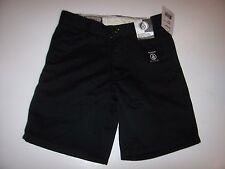 Volcom Frickin chino shorts little youth boys sz 4 adjustable  solid black