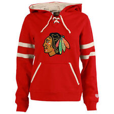 Women's Old Time Hockey Red Chicago Blackhawks Grant Lace-Up Slim Fit Hoodie