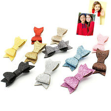 Baby Girl Hairbow Hairpins Fashion Glitter Leather Bow Hair Clips Hair Headwear