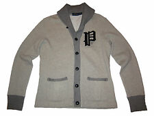 Polo Ralph Lauren Mens Varsity Patch Slim Grey Shawl Cardigan Sweater Jacket New