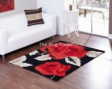 Aspire Zaire Red Black Floral Design Luxury Rug in various sizes