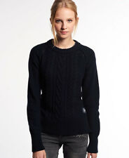 New Womens Superdry Cable Crew Jumper Navy