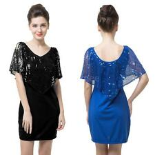 Sexy Women's Short Sleeve Sequin Mini Dress Bodycon Clubwear Party Anself V6H8