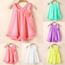 Summer Girls Princess Party Vest Skirt Tutu Dress Baby Chiffon Sundress M -XXL