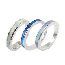 Women Fire Opal Inlay Genuine 925 Sterling Silver Band Ring Size 6-9 3.5mm C9L3
