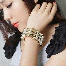 Fashion Gothic Rock Punk Studs Spike Rivets Bangle Elastic Stretch Bracelet Chic