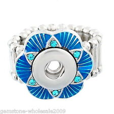 Wholesale Lots Enamel Mini Snap Button Stretch Ring size 7.5 Blue Rhineston