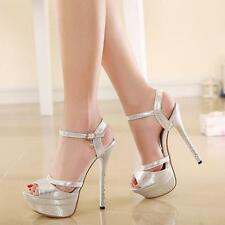 Sexy Womens High Heels Platform Stiletto Buckle Peep Toe Party Prom Sandal Shoes