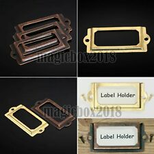12pc Drawer Cabinet Frame Label Tag File Name Card Holder Gold or Antique Brass