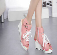 SIZE Women Canvas Wedge Heel High Top Peep Toe Sneakers  Slingback Shoes