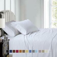 100% Cotton Sateen Sheets, Luxury 300 Thread Count Damask Stripe Bed Sheet Set