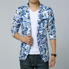 Mens Fashion Slim Floral Printing Short Casual Blazer Coat Jacket Camo Outwear
