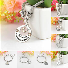 Trendy Silver Plated Family Jewelry Gifts Love Words Charm Beads Bangle Bracelet