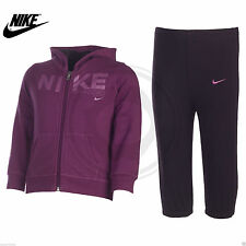 Nike Infants Girls Fleece Lined Hooded Tracksuit Full Zip Jumper Pant Purple